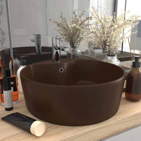 Luxus-Waschbecken mit Überlauf Matt Dunkelbraun 36x13cm Keramik