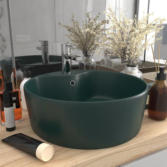 Luxus-Waschbecken mit Überlauf Matt Dunkelgrün 36x13 cm Keramik
