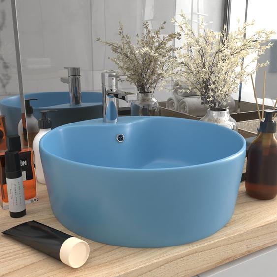 Luxus-Waschbecken mit Überlauf Matt Hellblau 36x13 cm Keramik