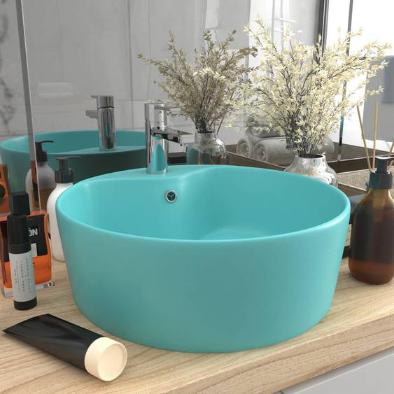 Luxus-Waschbecken mit Überlauf Matt Hellgrün 36x13 cm Keramik