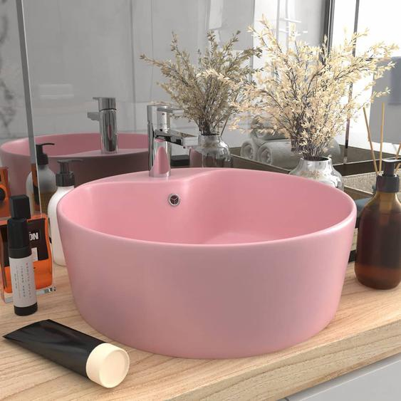 Luxus-Waschbecken mit Überlauf Matt Rosa 36x13 cm Keramik