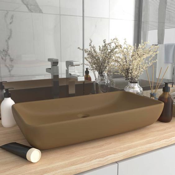 Luxus-Waschbecken Rechteckig Matt Creme 71x38 cm Keramik