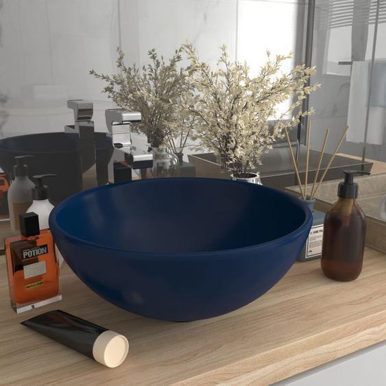 Luxus-Waschbecken Rund Matt Dunkelblau 32,5x14 cm Keramik