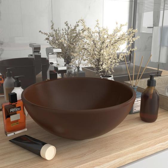 Luxus-Waschbecken Rund Matt Dunkelbraun 32,5x14 cm Keramik