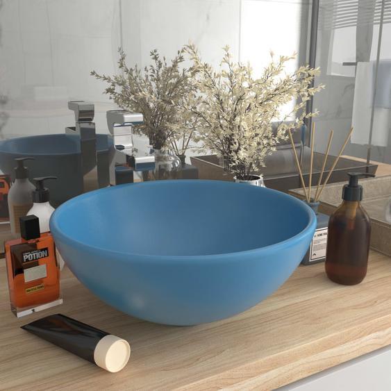 Luxus-Waschbecken Rund Matt Hellblau 32,5x14 cm Keramik