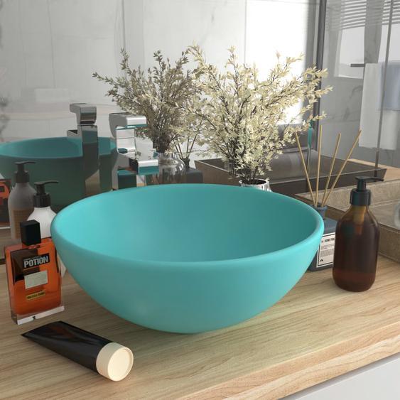 Luxus-Waschbecken Rund Matt Hellgrün 32,5x14 cm Keramik