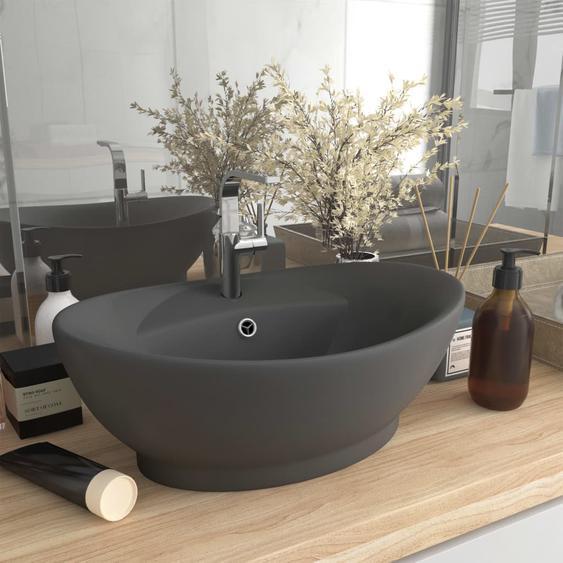 Luxus-Waschbecken Überlauf Matt Dunkelgrau 58,5x39cm Keramik