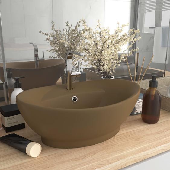 Luxus-Waschbecken Überlauf Oval Matt Creme 58,5x39cm Keramik