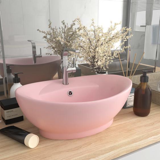 Luxus-Waschbecken Überlauf Oval Matt-Rosa 58,5x39 cm Keramik