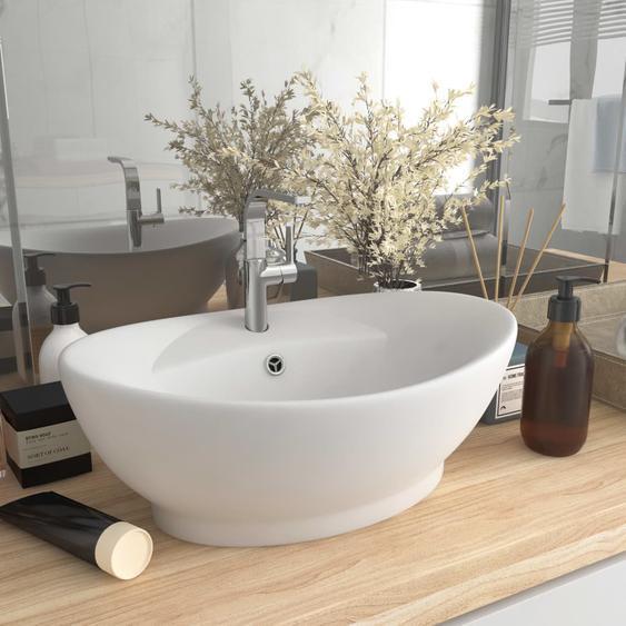 Luxus-Waschbecken Überlauf Oval Matt-Weiß 58,5x39 cm Keramik