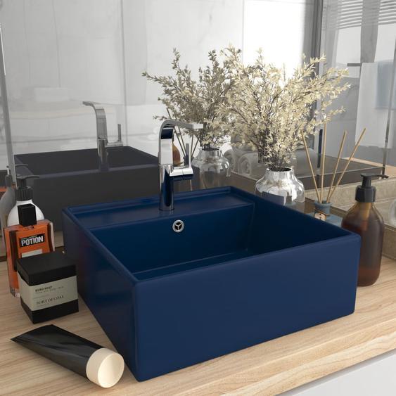 Luxus-Waschbecken Überlauf Quadratisch Matt Dunkelblau 41x41 cm