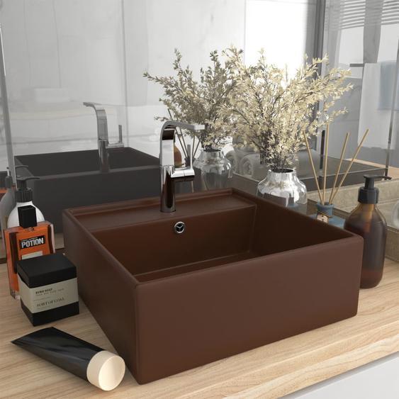 Luxus-Waschbecken Überlauf Quadratisch Matt Dunkelbraun 41x41cm