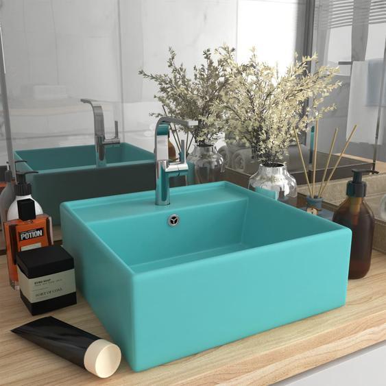 Luxus-Waschbecken Überlauf Quadratisch Matt Hellgrün 41x41 cm