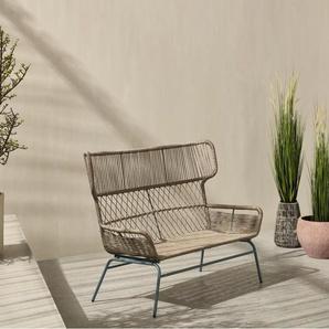 Lyra 2-Sitzer-Gartensofa, Blau und Graubeige