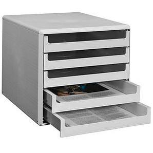 Schubladenbox   lichtgrau DIN A4 mit 5 Schubladen