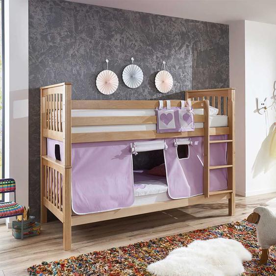Mädchen Etagenbett aus Buche Massivholz Vorhang in Lila Weiß