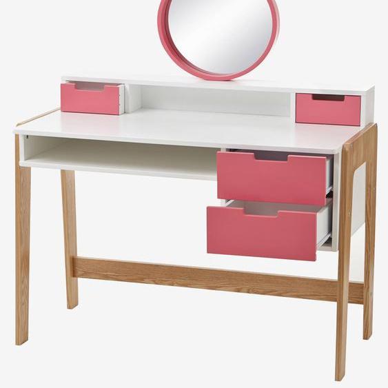 Mädchen Frisier- und Schminktisch, Schreibtisch weiß/rosa/natur