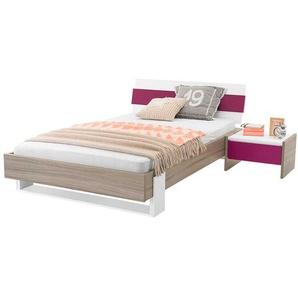 Mädchen Jugendbett in Holz Pink mit Nachtkonsole (zweiteilig)