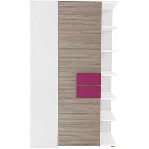 M�dchenzimmer Eckschrank in Holz Pink Wei� Regal