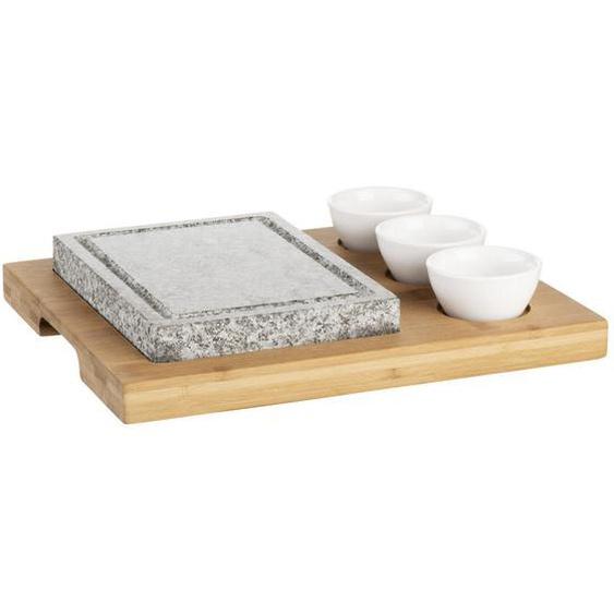 Mäser Heißer Stein-Grill , Weiß , Holz, Stein, Keramik , Bambus , 40x30x20 cm