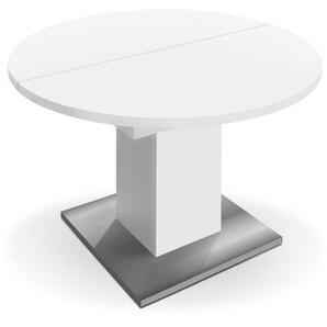 Mäusbacher Esstisch mit Auszug, Weiß, Kunststoff