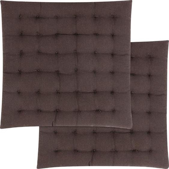 Magma Heimtex Stuhlkissen Freya, mit toller Steppung 2x 40x40 cm, Baumwolle, 4 cm braun Sitzkissen Kissen Kopfkissen