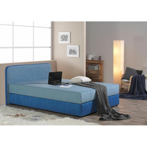 Boxspringbett, blau, Microfaser, 90x200cm, H2, , , Härtegrad 2, Maintal