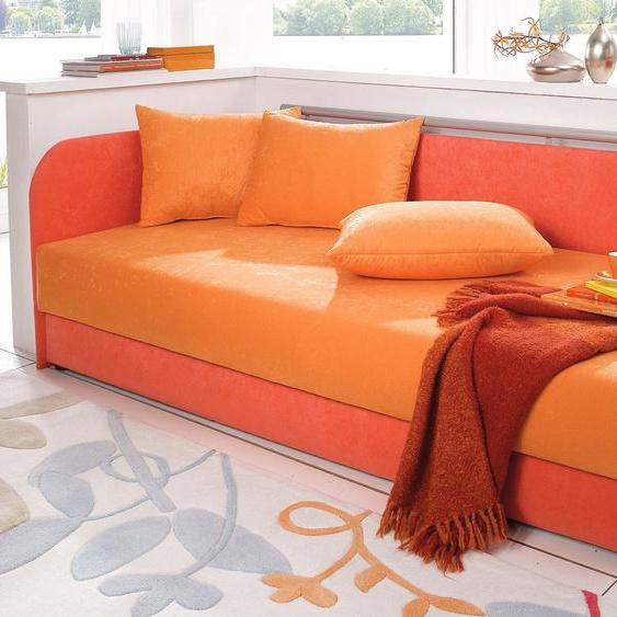 Maintal Polsterliege 90x200 cm, Federkern-Festpolster, Liegehöhe 55 cm orange Polsterliegen Gästebetten Betten Komplettbetten