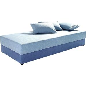 Maintal Einzelliege, Federkernfestpolsterung, blau, 80/200 cm