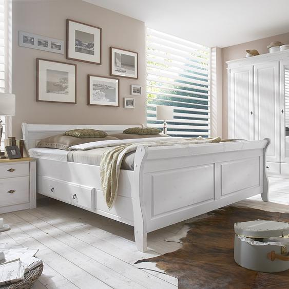Maison Belfort Massivholz-Doppelbett Cenan 200x200 cm Kiefer Massivholz Weiß gebeizt mit Bettkasten