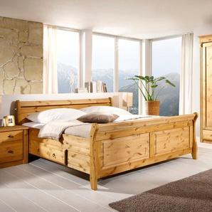 Maison Belfort Massivholz-Doppelbett Cenan 200x200 cm Massivholz Kiefer Laugenfarbig
