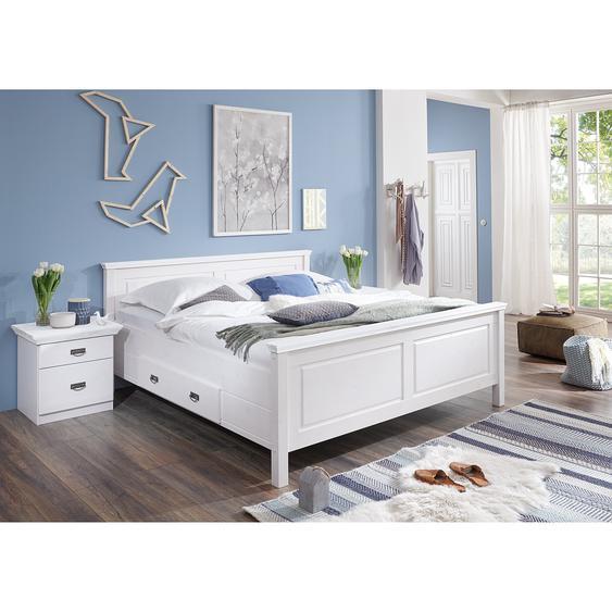 Maison Belfort Massivholzbett Bergen 200x200 cm Massivholz Kiefer Weiß mit Bettkasten
