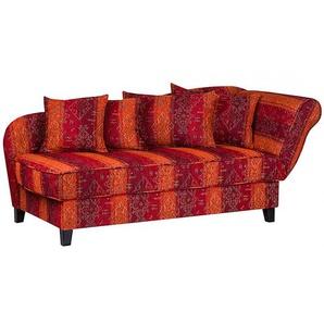 Maison Belfort Recamiere Adelaide 3-Sitzer Rot/Orange Webstoff 193x82x91 cm (BxHxT) mit Schlaffunktion/Bettkasten Gestreift Landhaus