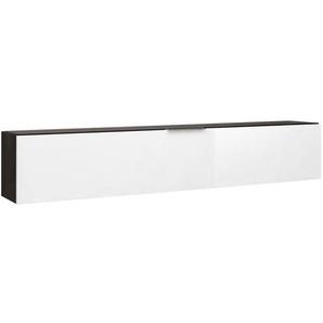 Maja Möbel Shino Hängeschrank 180x28x33cm Schwarz Matt/Weißglas