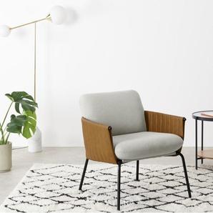 Manet Sessel, Hagelgrau und Leder