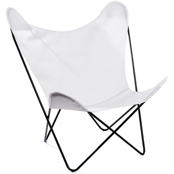 Manufakturplus - Butterfly Chair Hardoy - B.K.F. Chair Edelstahlrahmen, Acryl weiss - outdoor