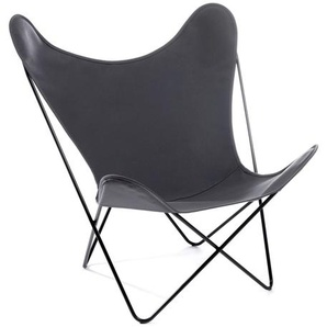 Manufakturplus - Butterfly Chair Hardoy - B.K.F. Chair Stahlrahmen schwarz, Acryl grau - outdoor