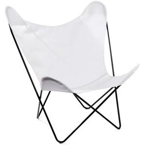 Manufakturplus - Butterfly Chair Hardoy - B.K.F. Chair Stahlrahmen schwarz, Acryl weiss - outdoor