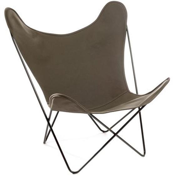 Manufakturplus - Butterfly Chair Hardoy - B.K.F. Chair Stahlrahmen schwarz, Baumwolle oliv - outdoor