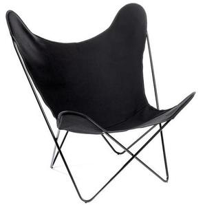 Manufakturplus - Butterfly Chair Hardoy - B.K.F. Chair Stahlrahmen schwarz, Baumwolle schwarz - outdoor