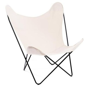 Manufakturplus - Butterfly Chair Hardoy - B.K.F. Chair Stahlrahmen schwarz, Baumwolle wollweiss - outdoor