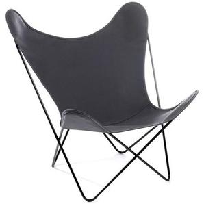 Manufakturplus - Butterfly Chair Hardoy - B.K.F. Chair Stahlrahmen verchromt, Acryl grau - outdoor