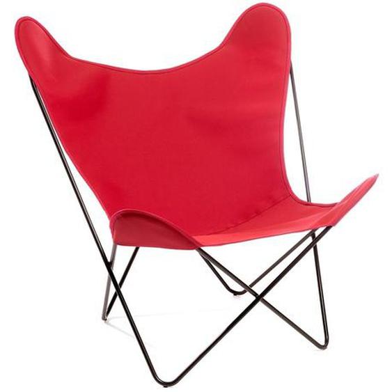 Manufakturplus - Butterfly Chair Hardoy - B.K.F. Chair Stahlrahmen verchromt, Acryl rot - outdoor