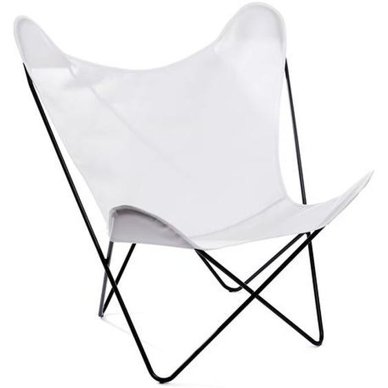 Manufakturplus - Butterfly Chair Hardoy - B.K.F. Chair Stahlrahmen verchromt, Acryl weiss - outdoor