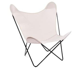 Manufakturplus - Butterfly Chair Hardoy - B.K.F. Chair Stahlrahmen verchromt, Acryl wollweiss - outdoor