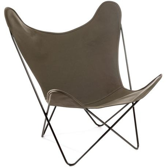 Manufakturplus - Butterfly Chair Hardoy - B.K.F. Chair Stahlrahmen verchromt, Baumwolle oliv - outdoor