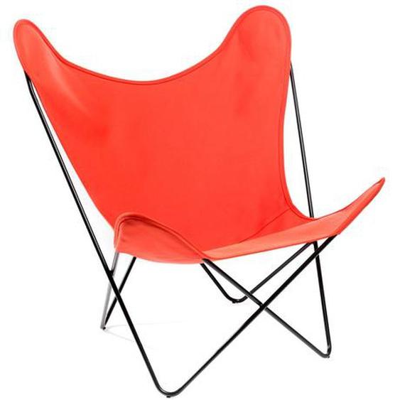 Manufakturplus - Butterfly Chair Hardoy - B.K.F. Chair Stahlrahmen verchromt, Baumwolle orange - outdoor