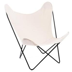 Manufakturplus - Butterfly Chair Hardoy - B.K.F. Chair Stahlrahmen verchromt, Baumwolle wollweiss - outdoor