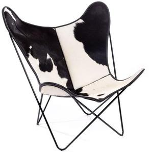 Manufakturplus - Butterfly Chair Hardoy - B.K.F. Chair Stahlrahmen verchromt, schwarzbuntes Fell - outdoor
