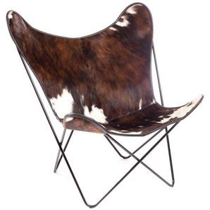 Manufakturplus - Butterfly Chair Hardoy - B.K.F. Chair Stahlrahmen weiß, 3-farbiges Fell - outdoor